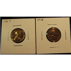 1618.   2 Proof Lincoln Wheat Cents – 1957 & 1958