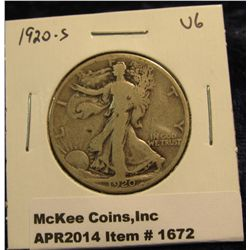 1672.   1920-S Walking Liberty Half VG