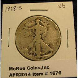 1676.   1928-S Walking Liberty Half VG