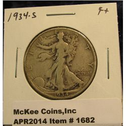 1682.   1934-S Walking Liberty Half F+
