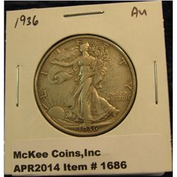 1686.   1936 Walking Liberty Half AU