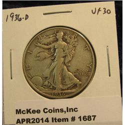 1687.   1936-D Walking Liberty Half VF30