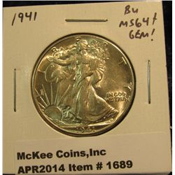 1689.   1941 Walking Liberty Half BU MS64+ GEM!