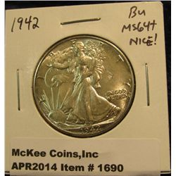 1690.   1942 Walking Liberty Half BU MS64+ nice!