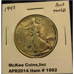 1692.   1943 Walking Liberty Half AU+ toned