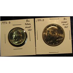 1697.   1972-D Washington Quarter & 1971-D Kennedy Half, both BU from Mint Sets