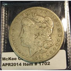 1702.   1881-S Morgan Dollar F+