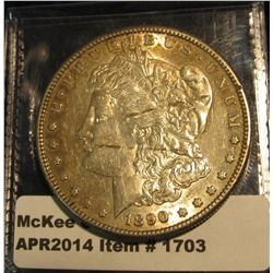 1703.   1890 S Morgan Dollar, AU details, 2 lines (either lamination or damage) obverse