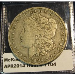 1704.   1892-O Morgan Dollar VF