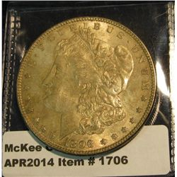 1706.   1896 Morgan Dollar BU MS63 toned