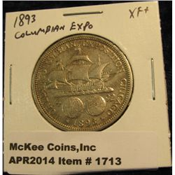 1713.   1893 Columbian Exposition Commemorative Half Dollar XF+