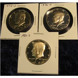1739.  3 Proof Kennedy Halves – 1972-S, 1976-S & 1982-S