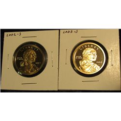 1769.   2 Proof Sacagawea Dollars – 2002-S & 2003-S