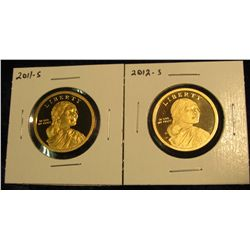 1772.   2 Proof Sacagawea Dollars – 2011-S & 2012-S