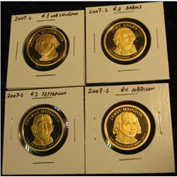 1773.   Set of 4 2007-S Presidential Dollars