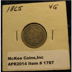 1787. 1865 U.S. Three Cent Nickel. VG-8.