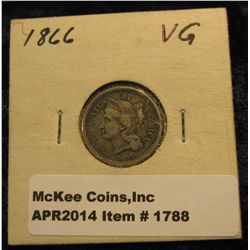 1788. 1866 U.S. Three Cent Nickel. VG-8.
