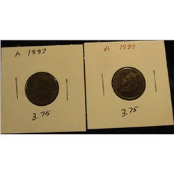 1809. 1887 & 1889 Indian head Cents. AG-G.