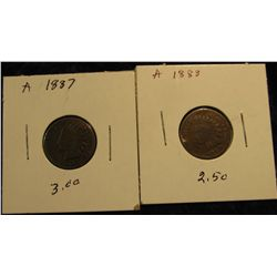 1811 1887 & 1888 Indian head Cents. G.