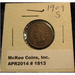 1813. 1909 S Indian Head Cent. VG-8. Rare Date.