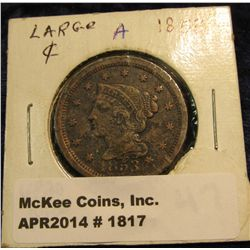 1817. 1853 U.S. Large Cent. VF. Some verdigris.