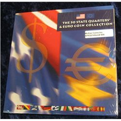 906.  The 50 State Quarters & Euro Coin Collection – contains 5 BU State Quarters from 2002 and