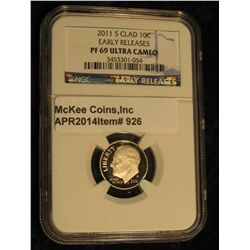 926.  2011-S Roosevelt Dime graded PF69 Ultra Cameo by NGC with Early Releases designation head