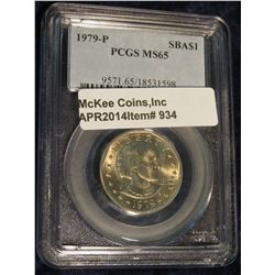 934.  1979-P Susan B. Anthony Dollar graded MS66 by PCGS