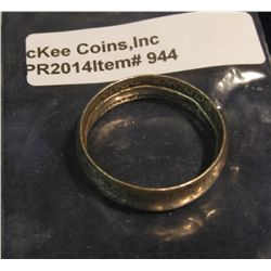 944.  Old band style coin silver ring, made from a US half dollar, hammered / tinked down by ha
