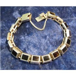 954.  HEAVY link black onyx and silver bracelet, marked 925 MEXICO