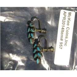 957.  Matched pair of silver and turquoise screw-back style ear rings, marked STERLING on screw