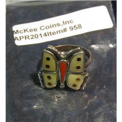 958.       Silver and inlaid butterfly ring, not marked, tests positive for silver
