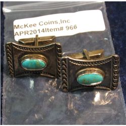 966.  Matched pair of silver and turquoise cufflinks, marked STER for sterling