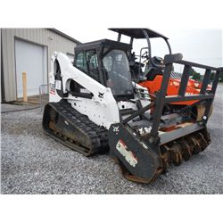 BOBCAT T320 SKID STEER LOADER, S/N A7MP40465 (08 YR) MULCHING HEAD, ECAB W/AIR, METER READING 538 HR