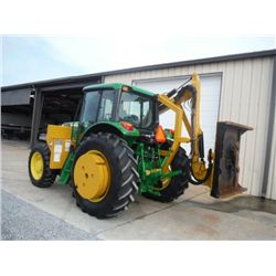 JOHN DEERE 7130 4X4 FARM TRACTOR W/SIDE BOOM MOWER, S/N L07130H550132 (08 YR) 97 HP, TIGER 4' SIDE B