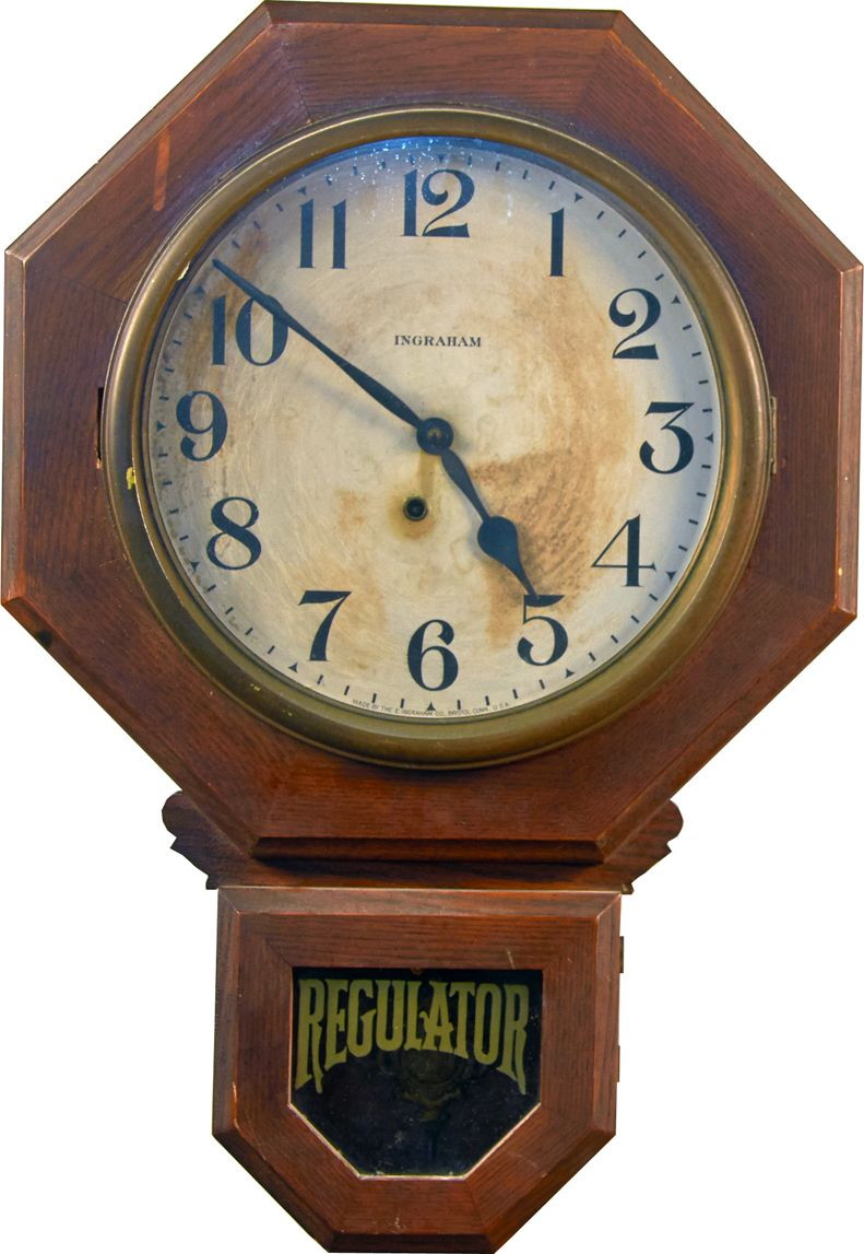 Antique Ingraham Regulator Wall Mount Wood Clock