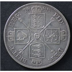 GB 1887 Sixpence Choice Unc, 1888 Double florin VF