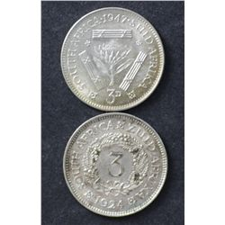 South Africa Threepences 1924 & 1947 EF & Unc