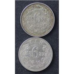 South Africa ZAR Sixpences 1896 & 1897 Extremely Fine