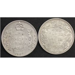 India Rupees 1901 & 1907 VF