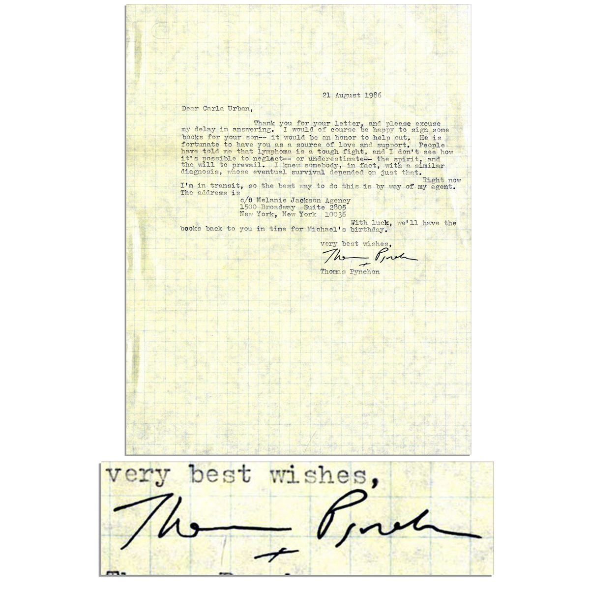 American Novelist Thomas Pynchon Typed Letter Signed I would