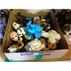 box lot of beanie's and action figures