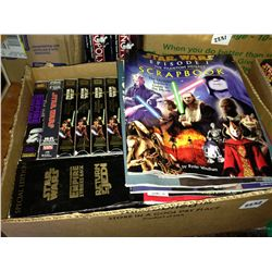 box lot of star wars vhs and books