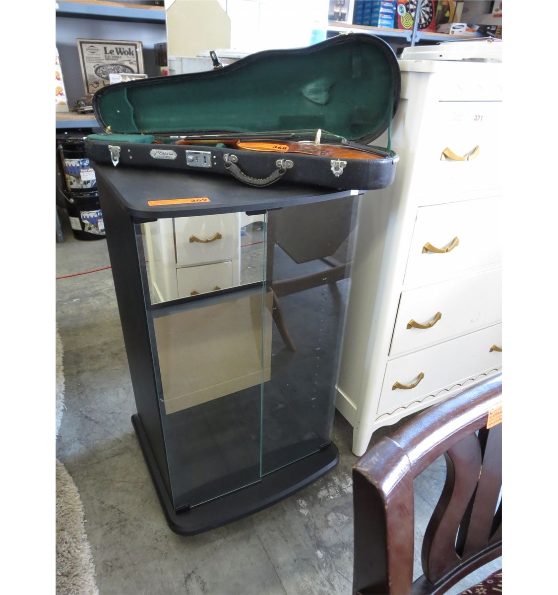 Kitchen Cabinets Port Coquitlam: Glass Fronted Rolling Media Cabinet