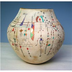 Collaboration by Beth Ireland and Ed Karch. Contemporary wood vessel with modern pictograms