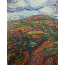 J Mcelwee 21st Century Oil On Board An Upland Landscape Signed 50cms X 40cms