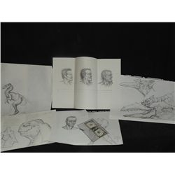 CONCEPT SKETCHES UNKNOWN LOT OF 5 HAND DRAWN & SIGNED ORIGINAL