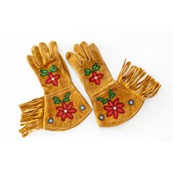 Pair of Beaded & Fringed Western Gauntlets