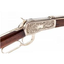 Eng'd & Silver-Plated Winchester Model 1892 Rifle