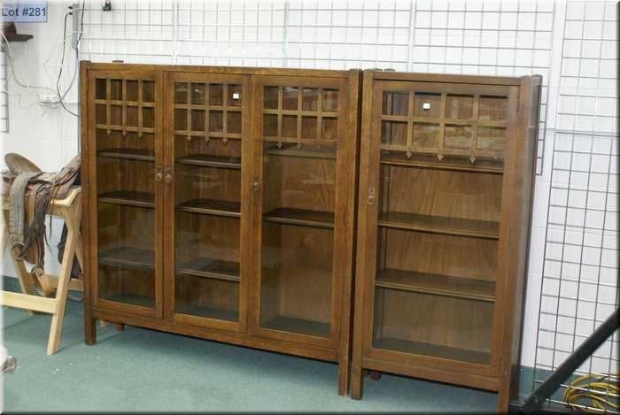 Antique Quarter Cut Oak Mission Style Three Door Bookcase By North American Furniture Co Owen Sound
